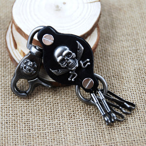 Black Gun Plated Leather Pirate Skull Keychains