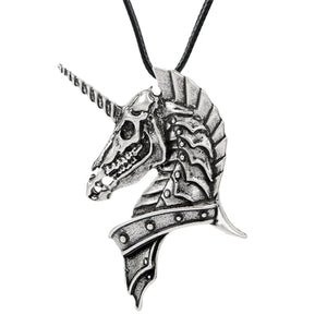 Ghost Unicorn Skull Pendant Necklace
