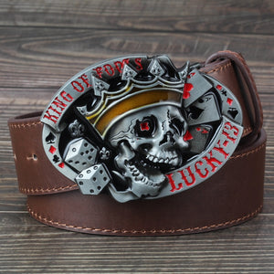 Red Lucky 13 Skull Belt Buckle