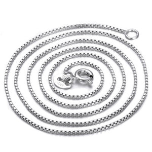 Pure 925 Sterling Silver Box Chain Necklace