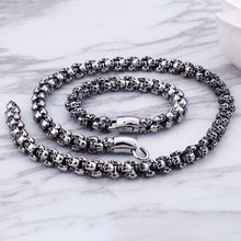 Stainless Steel Skull Necklace and Bracelet Set For Men