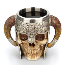 Creative Stainless Steel Double Layer Horns Helmet Skull Mug