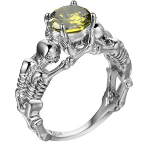 Yellow Stone Silver Ghost Evil Skull Skeleton Hand CZ Rings