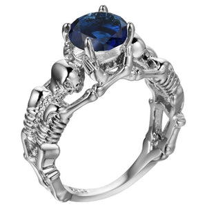 Dark Blue Silver Ghost Evil Skull Skeleton Hand CZ Rings