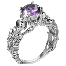 Purple Stone Silver Ghost Evil Skull Skeleton Hand CZ Rings