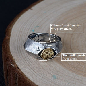 Resizable Real Pure Silver Unique Designed Skull Ring