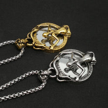 Vintage Magic Mirror Skull Pendant Necklace