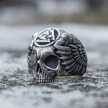 Odin with Ravens Stainless Steel Skull Ring