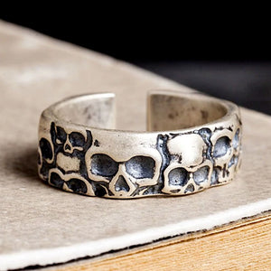 Vintage Adjustable 925 Sterling Silver Skull Rings