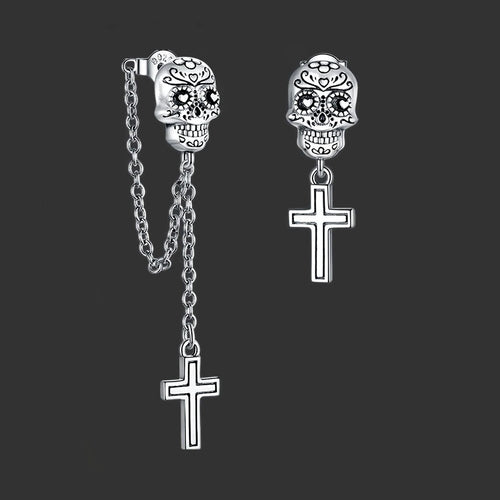 Real Silver Skull Cross Stud Earrings