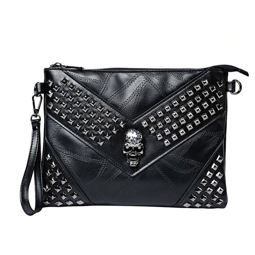 Men Rivet Day Clutches Skull Messenger Bag