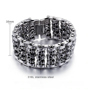 Stainless Steel Huge Heavy Solid Silver Skeleton Skull Bracelet