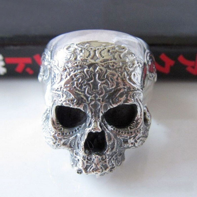 Unisex 925 Sterling Silver Engraved Pattern Skull Ring