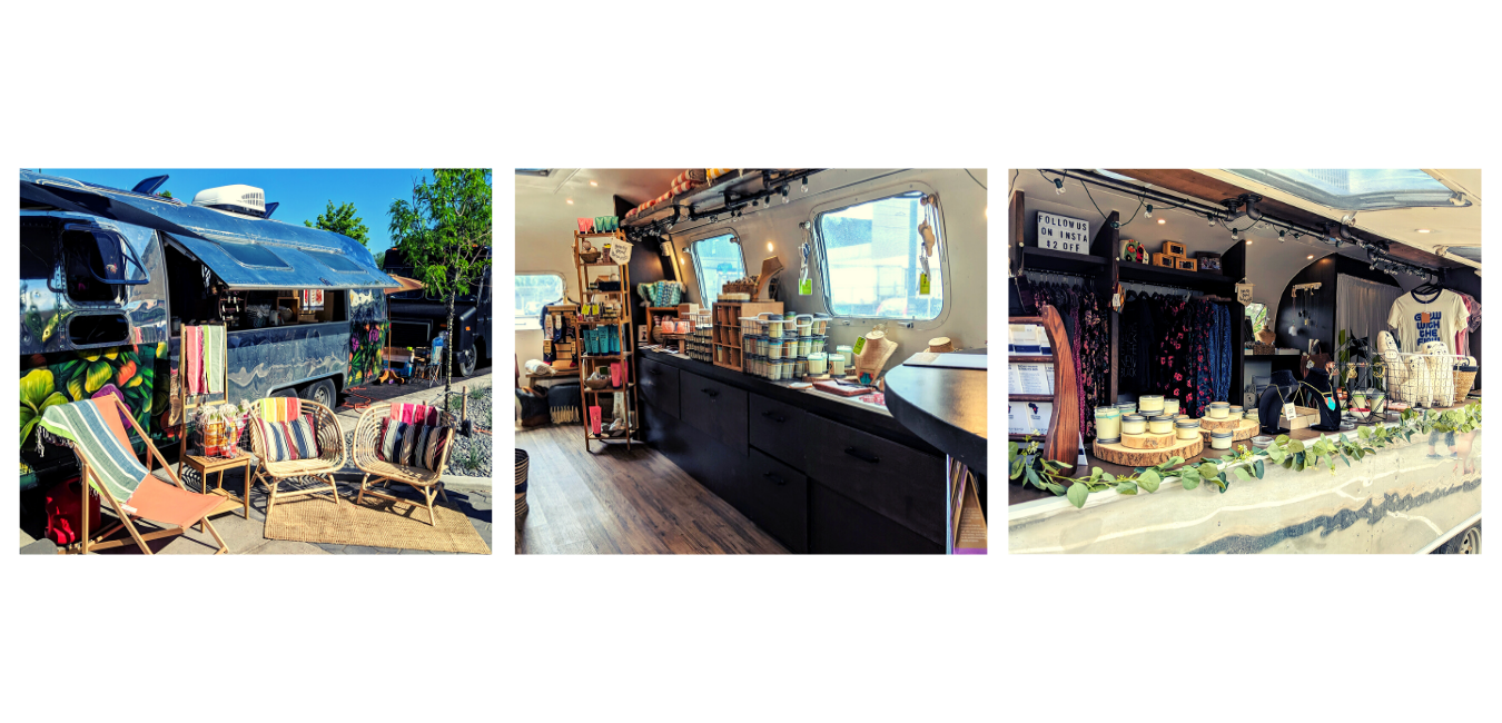 Images of an airstream renovated into a shop that sells ethically sourced good.