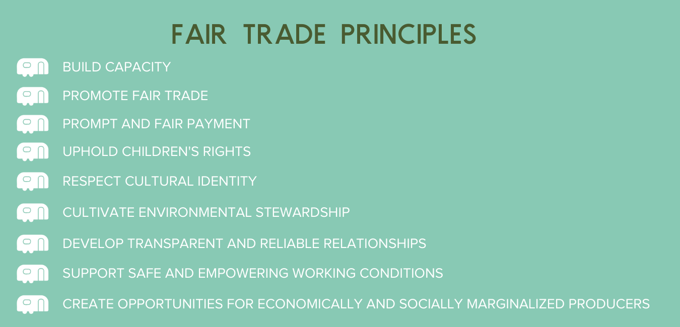 Fair Trade Principles - Create Opportunities for economically and socially marginalized farmers and artisans. Fair trade is a strategy for poverty alleviation and sustainable development achieved through long-term trading partnerships. Develop Transparent and Accountable Relationships with artisans and farmers to ensure that relationships are open, fair, consistent, and respectful. Build Capacity of farmers, artisans, and their communities. FTF members invest time and resources to help producers build their businesses and create sustainable supply chains. Promote Fair Trade by raising awareness about fair trade, educating customers and producers, and inspiring other businesses to adopt fair trade practices. Pay Promptly and Fairly by discussing costs and pricing openly and honestly so that producers are able to earn a fair wage. Support Safe and Empowering Working Conditions that are free of discrimination and forced labor. Healthy workplaces empower producers to participate in decision-making. Cultivate Environmental Stewardship by encouraging responsible use of resources and eco-friendly production. FTF members reduce, reuse, reclaim, and recycle materials whenever possible. Ensure the Rights of Children by never using exploitative child labor. FTF members support children's right to security, education, and play and respect the UN Convention on the Rights of the Child. Respect the Cultural Identity of the farmers and artisans and celebrate diversity. Fair trade products and production methods respect the traditions of the local communities.