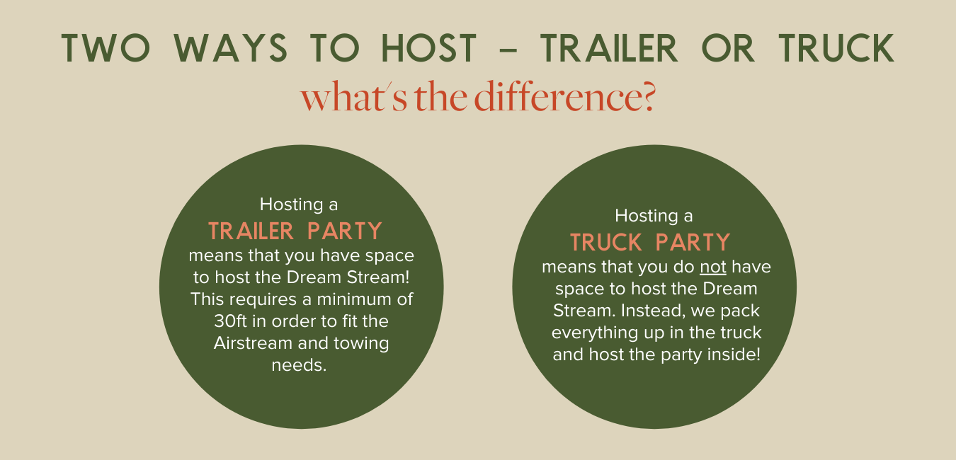 Two Ways to Host - Trailer or Truck, Hosting a TRAILER PARTY means that you have space to host the Dream Stream! This requires a minimum of 30ft in order to fit the Airstream and towing needs. Hosting a  TRUCK PARTY  means that you do not have space to host the Dream Stream. Instead, we pack everything up in the truck and host the party inside!