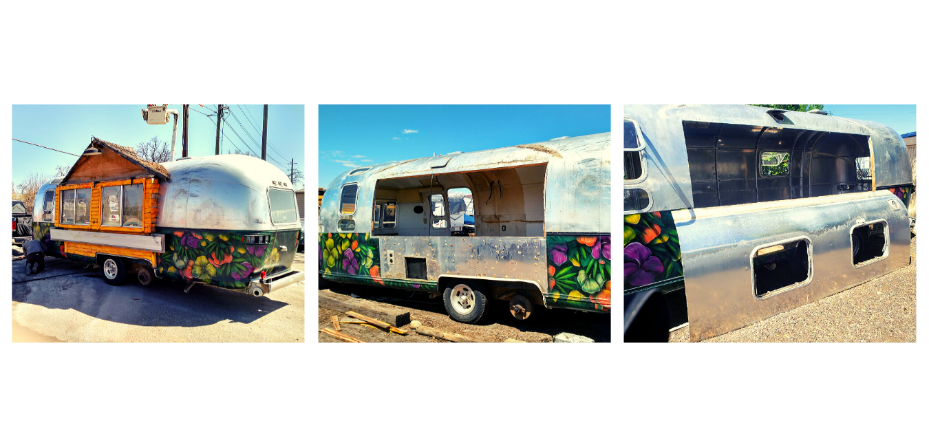 Images of a vintage Airstream trailer that was renovated. It now includes a side window that lifts up to display a walk up counter