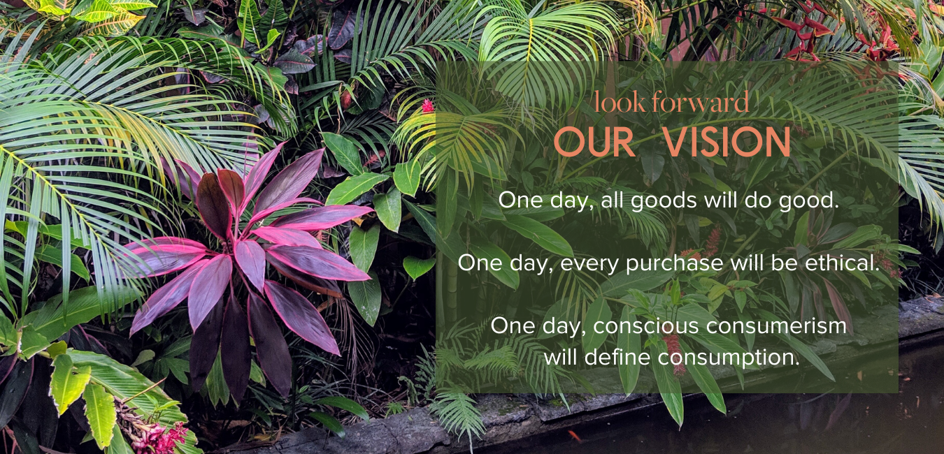 Looking Forward, Our Vision - One day, all goods will do good.   One day, every purchase will be ethical.   One day, conscious consumerism  will define consumption.