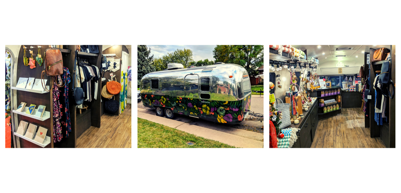 Images of a of the inside and outside of a renovated vintage Airstream trailer. It is now a mobile shop that ethically sourced goods from artisans around the world and here in the United States.
