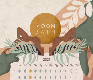 Lunar calendar showing phases of the moon top with women and leaves.