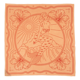 Orange and red bandana with a mermaid, flowers, and rope design.