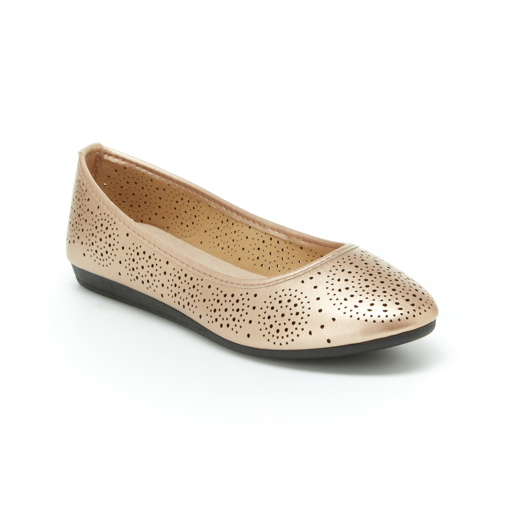 Aly | Rose Gold, Comfortable flats, women's, arch support, leather, shoes, slip-ons, work, walking, cushioned footbeds, dress shoes