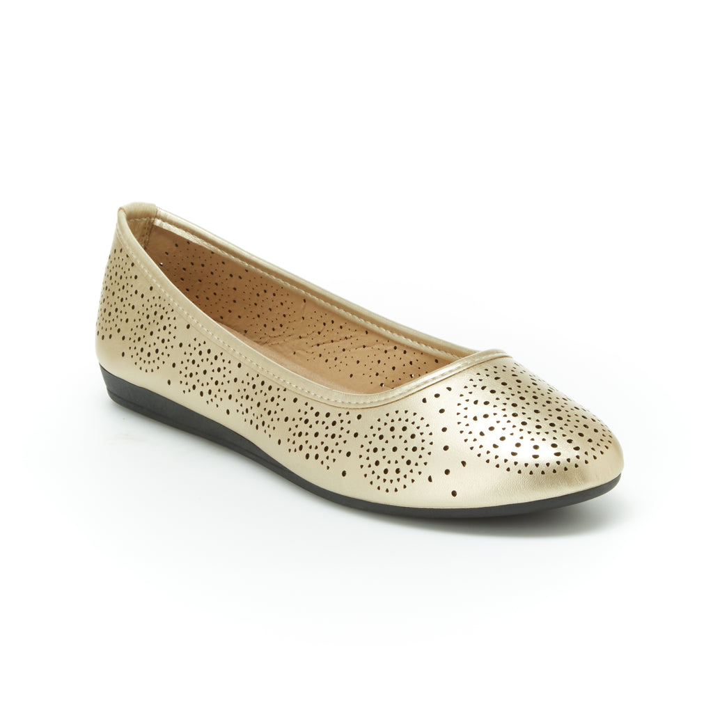 Aly | Champagne Gold, Comfortable flats, women's, arch support, leather, shoes, slip-ons, work, walking, cushioned footbeds, dress shoes