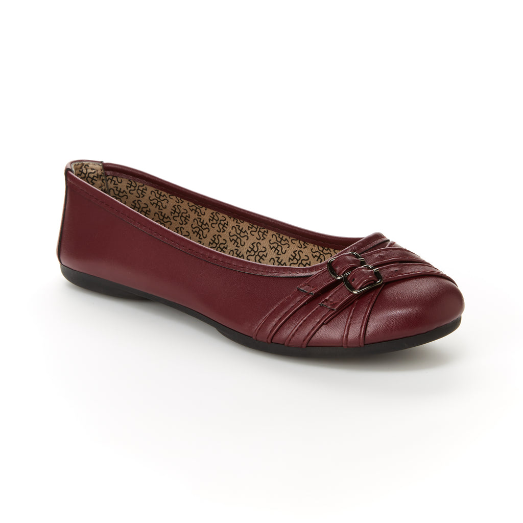 Georgia | Wine, Comfortable flats, women's, arch support, leather, shoes, slip-ons, work, walking, cushioned footbeds, dress shoes
