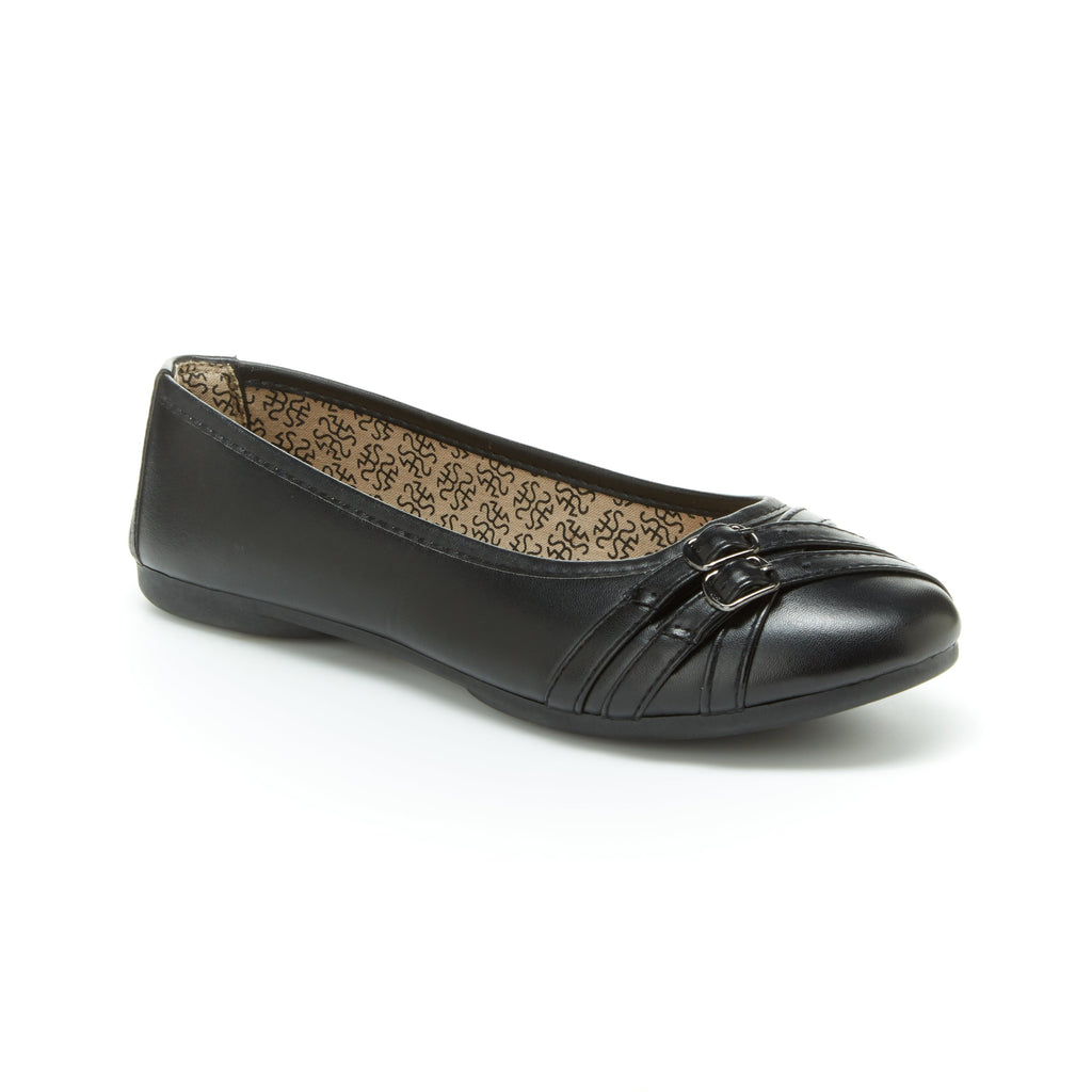 Georgia | Black, Comfortable flats, women's, arch support, leather, shoes, slip-ons, work, walking, cushioned footbeds, dress shoes