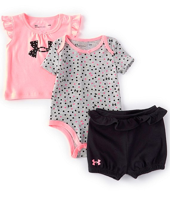 UA Dotty Logo Tee, Bodysuit & Short Set 3-Piece