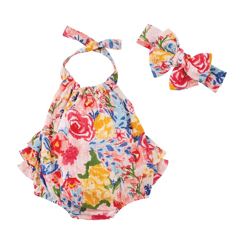 Mud Pie Floral Bubble & Headband