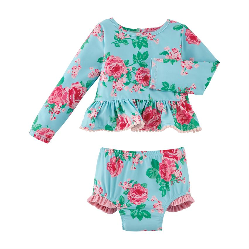 Mud Pie Rose Rash Guard Set