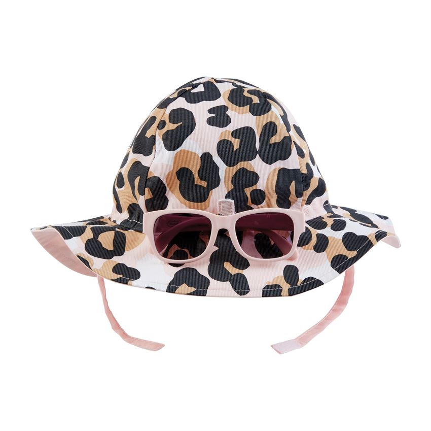 Mud Pie Leopard Sun Hat w/glasses