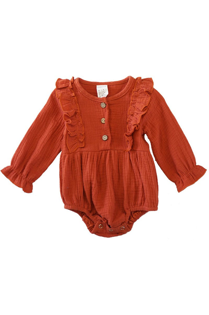 Burnt Orange Linen Ruffle Bubble