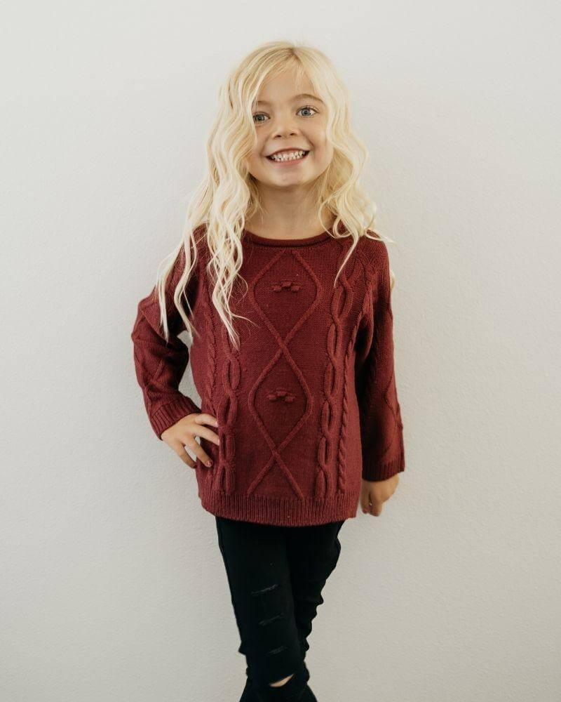 Bailey's Blossoms Maroon Elizabeth Sweater