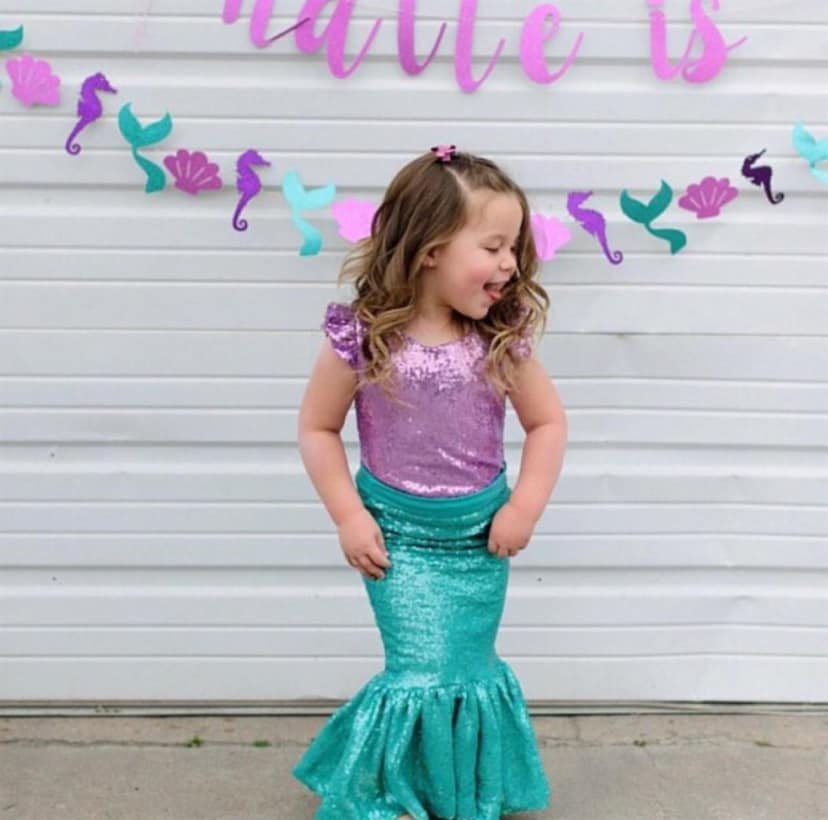 Sequin Mermaid Skirt - Aqua