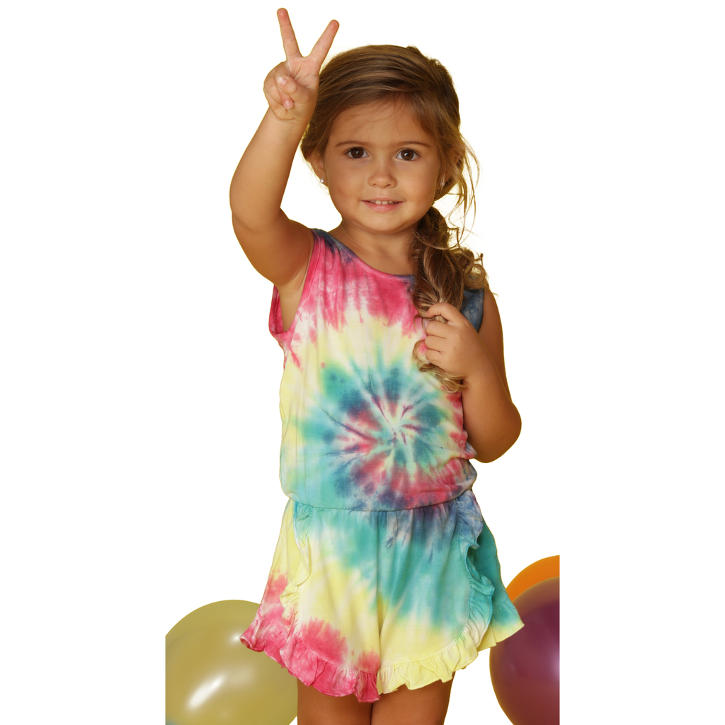 Tie Dye Ruffle Bottom Romper