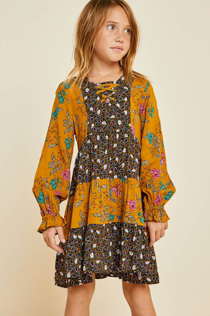 Floral Lace-Up Peasant Dress
