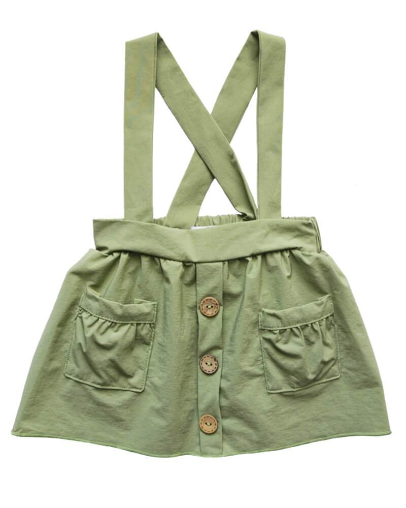 Bailey's Blossoms Olive Pleated Suspender Skirt