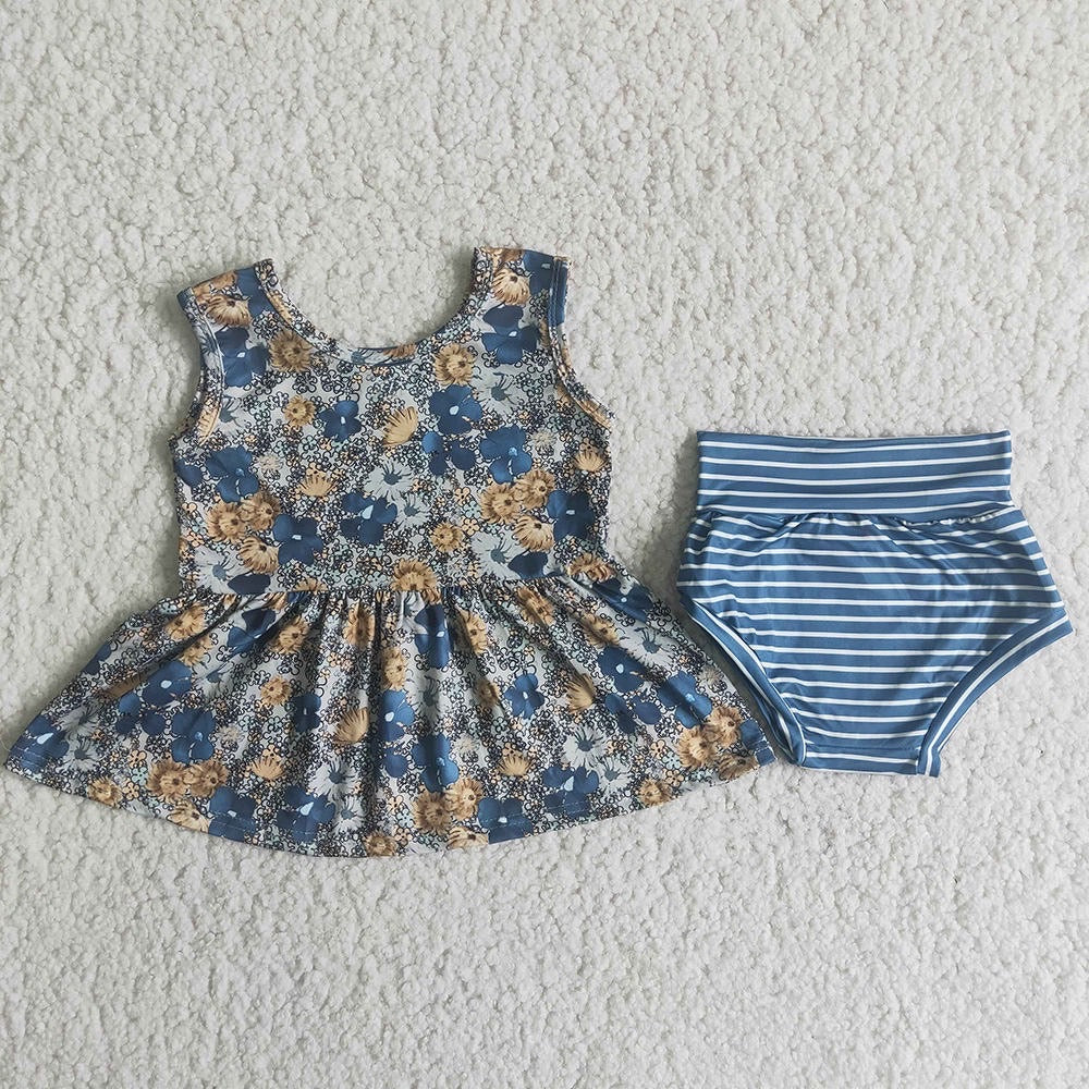 Blue Floral Peplum with Bummies
