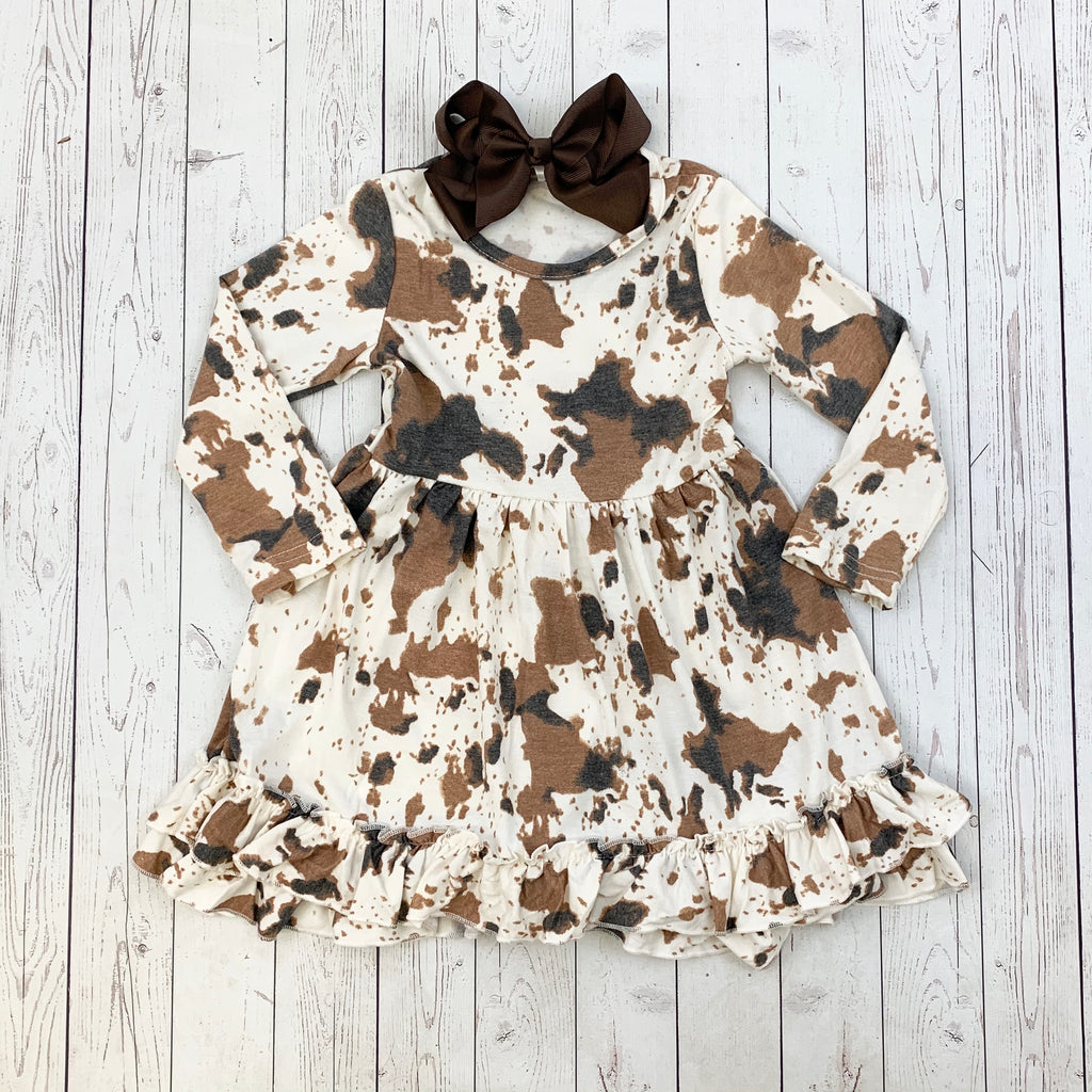 Cow Print Ruffle Dress