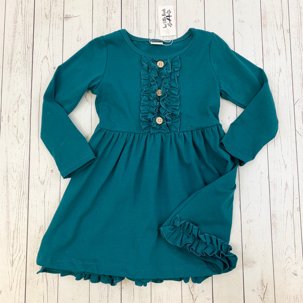 TLB Christmas Teal Ruffle Dress