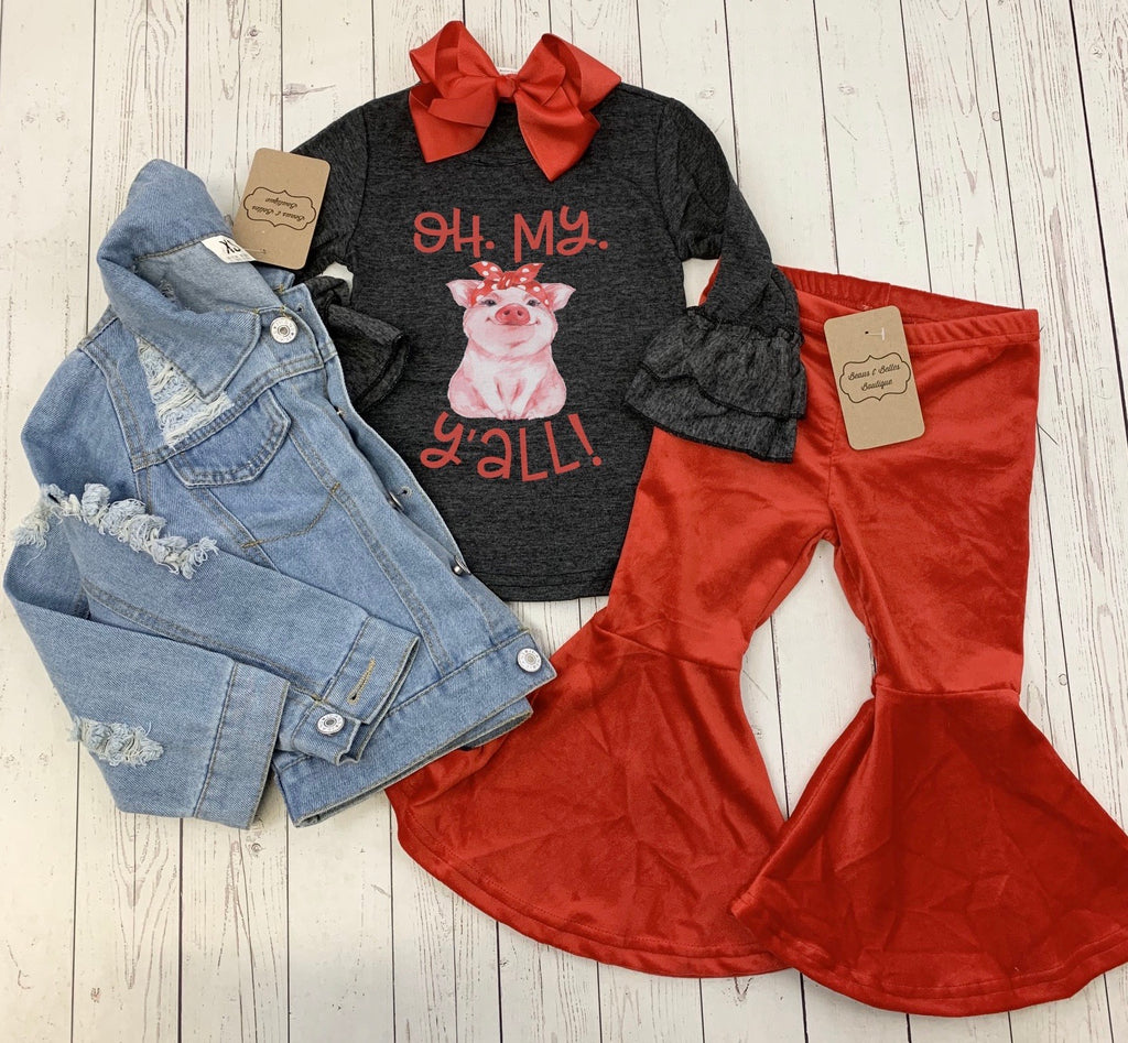 Oh My Hog Y'all Ruffle tee