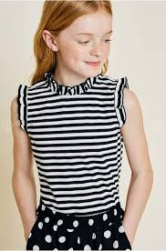 Hayden Girls High Neck Sleeveless Black and White Stripe