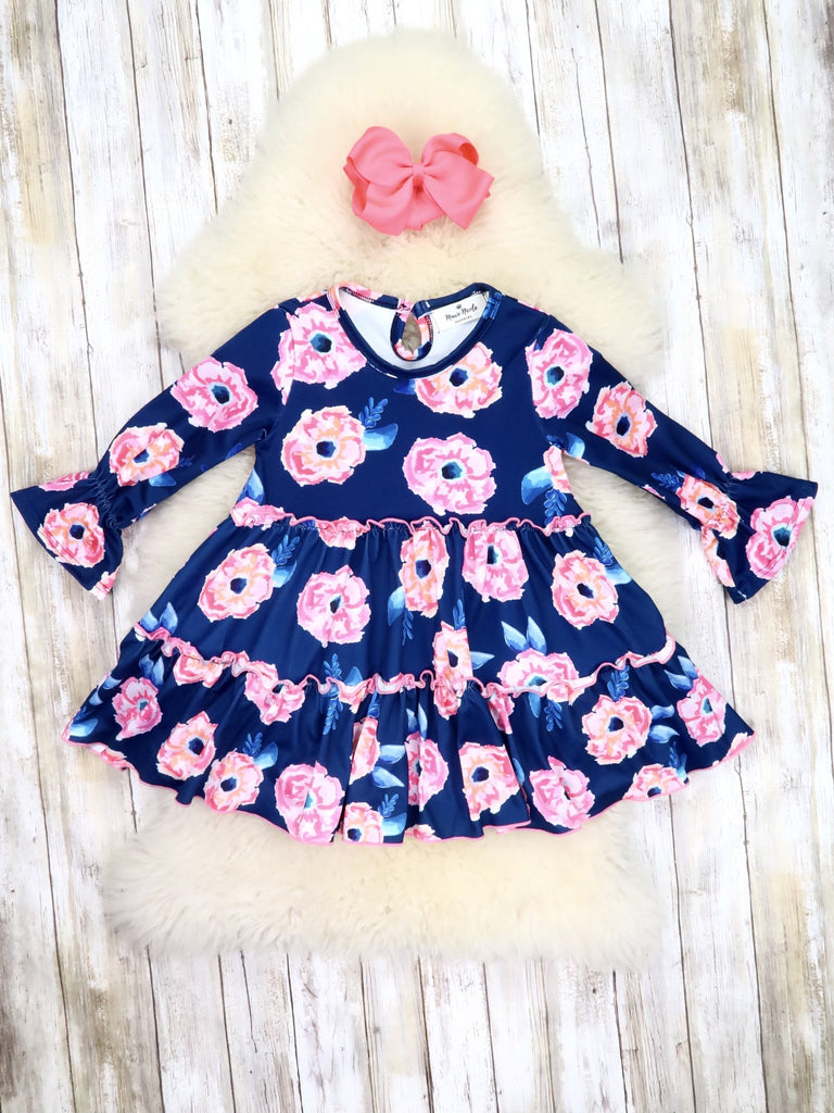 Navy Floral Swing Top