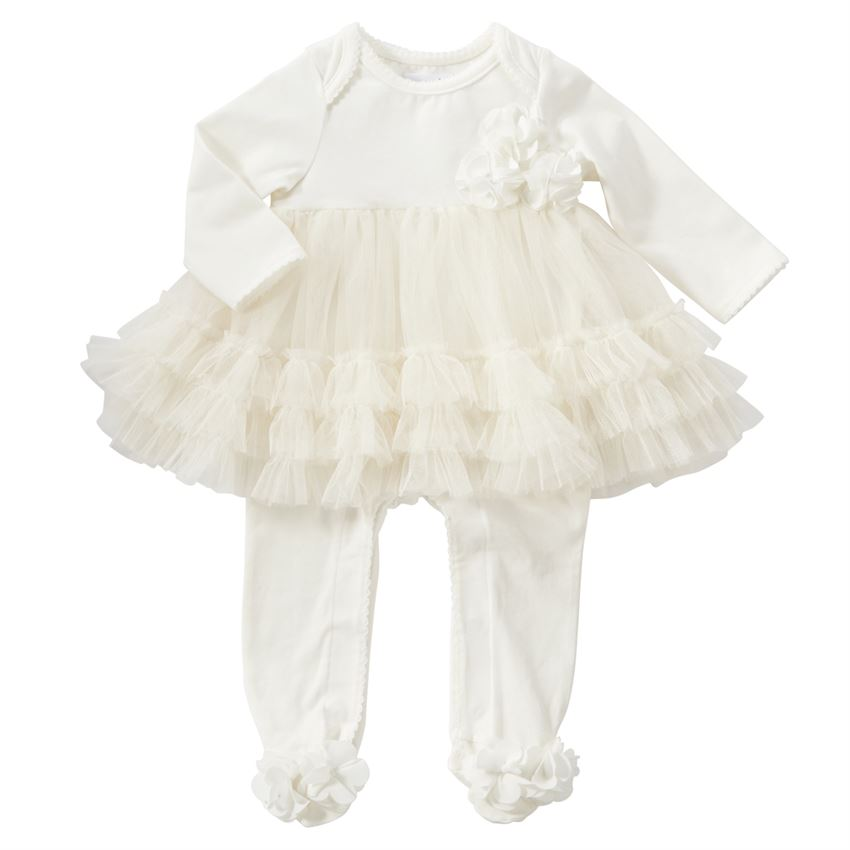 Mud Pie White Mesh Skirted Sleeper