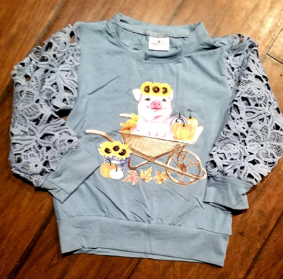 Sunflower pig lace sleeve top