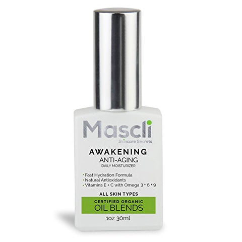 AWAKENING Moisturizer Cold Pressed Imported Oils 100% Certified Organic Vitamins E + C + A + Antioxidants + Omega 3+6+ 9