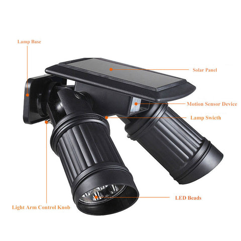 LED Solar Lamp Waterproof with Motion Sensor  Super Bright Spotlight