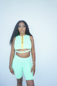 Mint Biker Short Set
